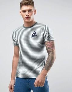 Полосатая облегающая футболка с логотипом-аппликацией Abercrombie & Fitch - Зеленый