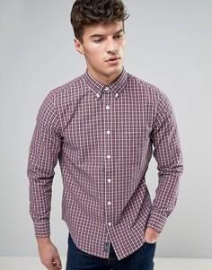 Красно-синяяя облегающая оксфордская рубашка в клеточку с карманом Abercrombie & Fitch - Красный