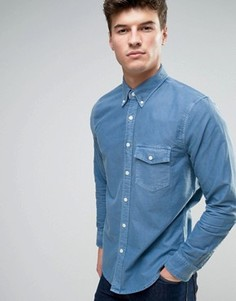 Темно-синяя облегающая оксфордская рубашка на пуговицах с карманом Abercrombie & Fitch - Темно-синий
