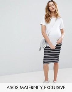 Юбка-карандаш в полоску с завышенной талией ASOS Maternity - Мульти