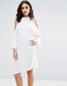Oversize-платье миди с вырезами на плечах Liquorish - Кремовый
