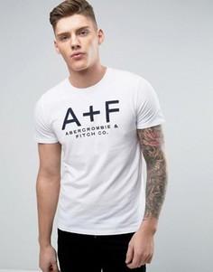Белая обтягивающая футболка с аппликацией A+F Abercrombie & Fitch - Белый