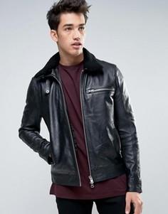 Кожаная куртка с воротником из искусственного меха Barneys - Черный Barneys Originals