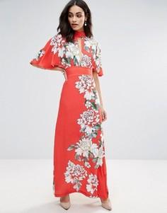Платье макси с цветочным принтом и оборками на рукавах Liquorish - Красный