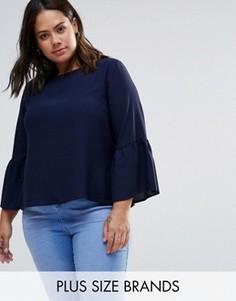 Блузка с оборками на рукавах Closet Plus - Темно-синий