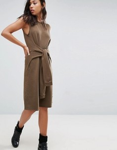 Платье с завязанными декоративными рукавами NYTT - Коричневый