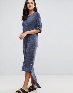 Свободное платье макси с асимметричным подолом NYTT - Темно-синий