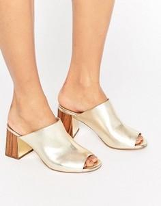 Сабо на каблуке цвета металлик KG Penny - Золотой