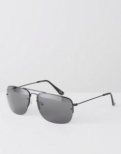 Квадратные солнцезащитные очки с тонкими металлическими дужками ASOS - Черный