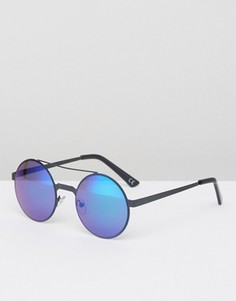 Круглые солнцезащитные очки в черной металлической оправе с синими стеклами ASOS - Черный