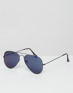 Солнцезащитные очки‑авиаторы с синими зеркальными линзами ASOS - Черный