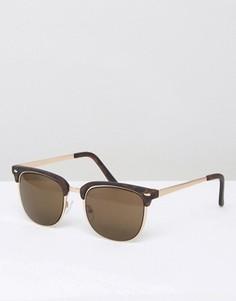 Солнцезащитные очки в стиле ретро ASOS - Коричневый