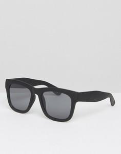 Большие квадратные солнцезащитные очки в черной прорезиненной оправе ASOS - Черный