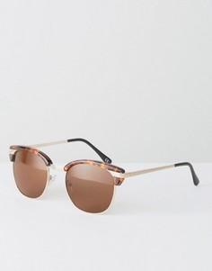Солнцезащитные очки в стиле ретро с черепаховой оправой ASOS - Коричневый
