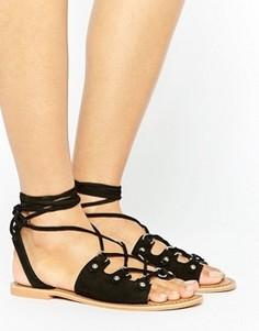 Черные замшевые сандалии с завязками Glamorous - Черный