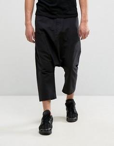 Черные брюки с заниженным шаговым швом и карманами из ткани с добавлением льна ASOS - Черный