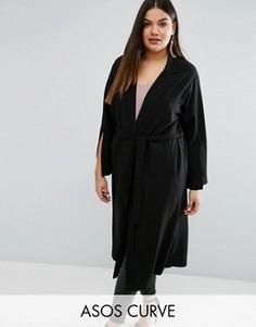 Длинное пальто с разрезами на рукавах ASOS CURVE - Черный