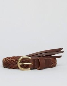 Плетеный кожаный ремень ASOS - Коричневый