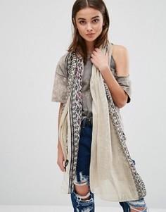 Легкий шарф с вышивкой Nali - Кремовый