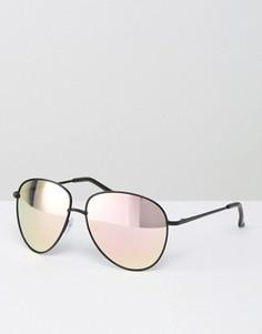 Солнцезащитные очки-авиаторы в черной металлической оправе с розовыми стеклами ASOS - Черный