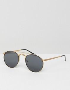 Круглые солнцезащитные очки в стиле 90-х с плоскими стеклами и контрастной отделкой ASOS - Черный