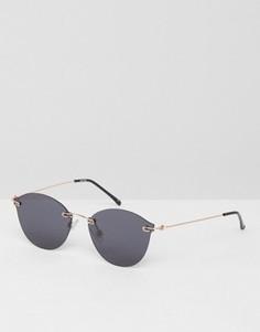 Солнцезащитные очки без оправы в стиле ретро с плоскими стеклами ASOS - Золотой