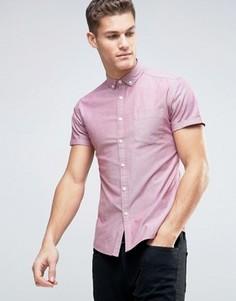 Красная оксфордская рубашка скинни в стиле casual ASOS - Красный