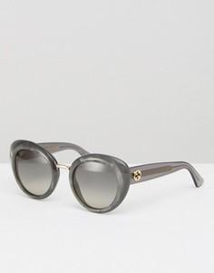 Солнцезащитные очки «кошачий глаз» в массивной оправе Gucci - Серый