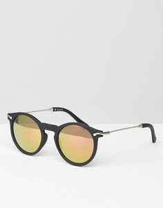 Круглые солнцезащитные очки с металлическими дужками и золотистыми стеклами ASOS - Черный