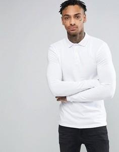 Белое обтягивающее поло с длинными рукавами ASOS - Белый