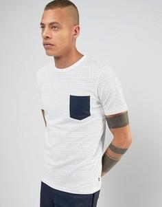 Футболка в горошек с контрастным карманом Produkt - Белый