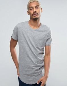 Удлиненная футболка с карманом и асимметричным краем Produkt - Серый