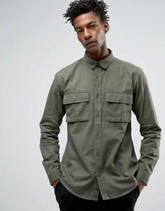 Рубашка стандартного кроя с карманами в стиле милитари Only & Sons - Зеленый