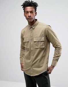 Рубашка стандартного кроя с карманами в стиле милитари Only & Sons - Бежевый
