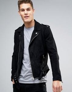 Замшевая байкерская куртка Selected Homme - Черный
