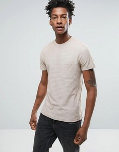 Меланжевая футболка в полоску с карманом Selected Homme - Кремовый