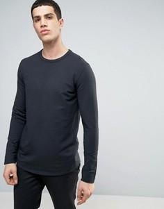 Длинный свитшот с асимметричным краем Selected Homme - Черный