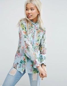 Свободная блузка с цветами и тиграми ASOS - Мульти