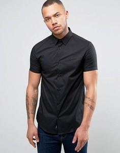 Узкая эластичная рубашка с короткими рукавами Armani Jeans - Черный