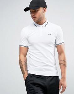 Белое узкое поло из пике с кантом и логотипом Armani Jeans - Белый