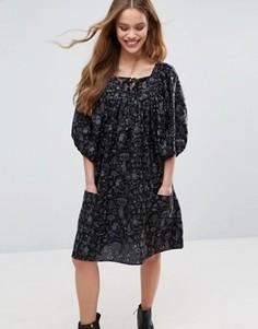 Платье с рукавами-фонариками Ivana Helsinki Moomin Pirre - Темно-синий