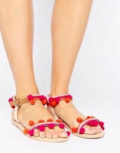 Сандалии с помпонами Boohoo - Розовый