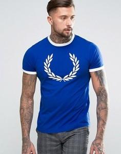Синяя футболка с принтом Fred Perry Laurel Wreath Ringer - Синий