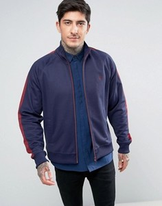 Темно-синяя спортивная куртка с контрастными вставками Fred Perry - Темно-синий