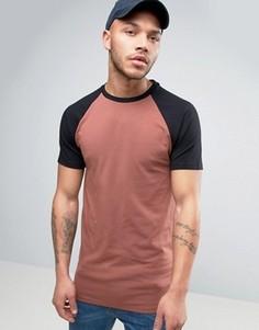 Длинная облегающая футболка с контрастными рукавами реглан ASOS - Красный