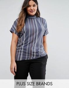Полосатая футболка с воротником-трубой Junarose - Мульти