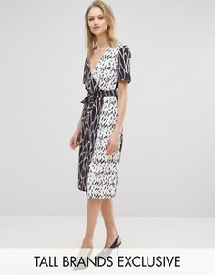 Платье с запахом и принтом Alter Tall - Мульти