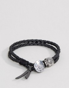 Черный плетеный браслет в два оборота Icon Brand - Черный