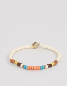 Браслет с разноцветными бусинами и черепом Icon Brand Malibu - Белый