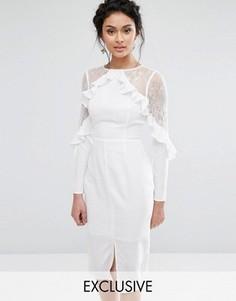 Платье миди с кружевными вставками True Decadence - Белый